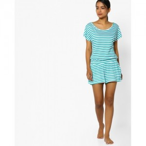 Slumber Jill Striped Lounge Playsuit with Back Cutouts