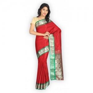 Pavechas Solid Banarasi Cotton, Satin Saree
