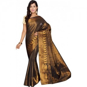 Buy Pavechas Self Design Banarasi Silk Cotton Blend Gold Sarees Online @ Best Price In India | Flipkart.com