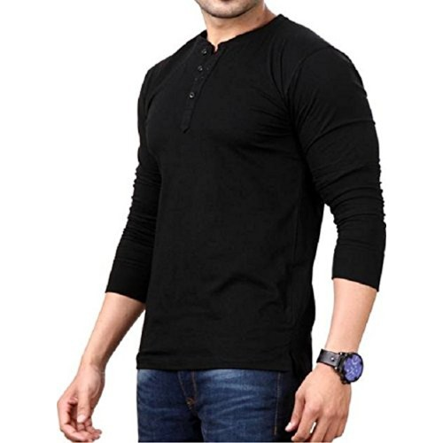 Style Shell Black Cotton Henley Full Sleeve T-Shirt