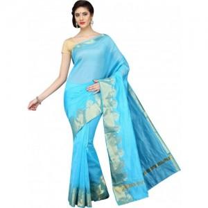 Pavechas Solid Banarasi Silk Cotton Blend Saree