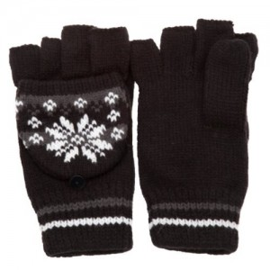 Universal Textiles Patterned Capped Fingerless Winter Gloves