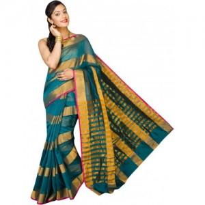 Pavechas Striped Banarasi Cotton, Silk Saree