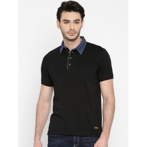 aef3ded2dc Buy Arrow Blue Jean Co. Men Black Solid Polo T-Shirt online ...