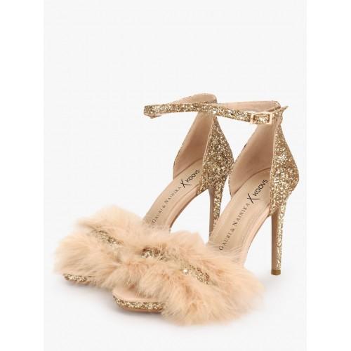 6f4a05402da6 Buy GAURI   NAINIKA X KOOVS Glitter Furry Heeled Sandals online ...