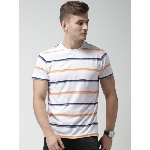 a34c258a Buy Aeropostale Men White Striped Round Neck T-shirt online ...