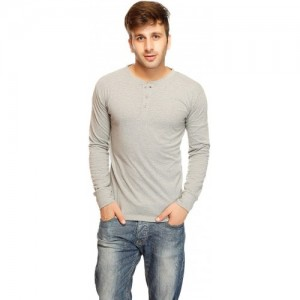 Gritstones Solid Men's Henley Grey T-Shirt