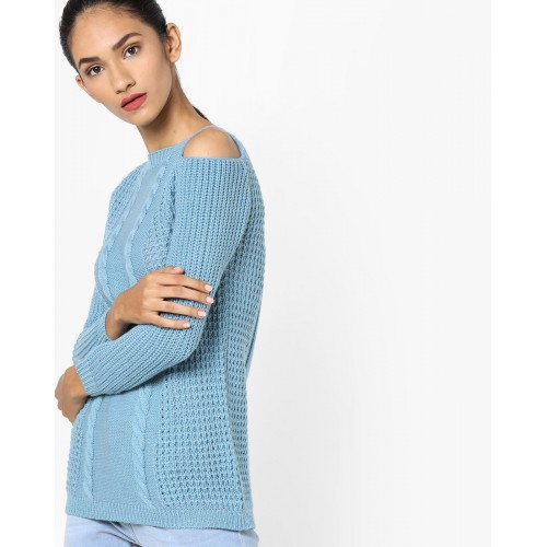 Fame forever by lifestyle Woven Cold-Shoulder Sweater