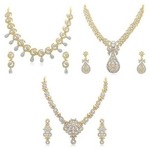 Sukkhi Glimmery Golden Necklace Set- Pack of 3