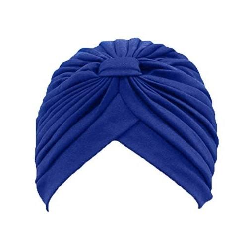 Turban BLUE Twist pleated Hair Wrap stretch turban Women's Head Wrap Cap Cover