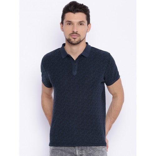 ed6af971 Buy Basics Men Navy Printed Muscle Fit Polo T-shirt online | Looksgud.in