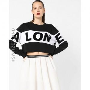TALLY WEiJL Typographic Print Colourblock Sweatshirt