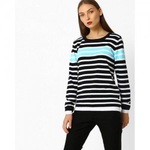 Teamspirit Striped Pullover with Ribbed Hems