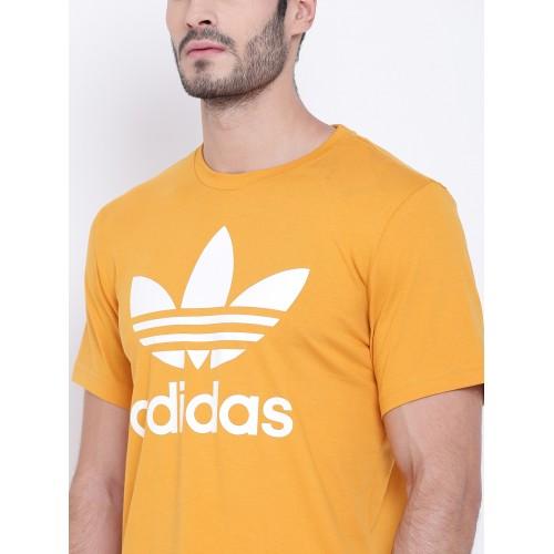 ADIDAS ORIGINALS Printed Men's Round Neck Yellow T Shirt
