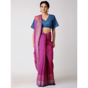 KAROMI Pink-Orange Silk Jamdani Saree