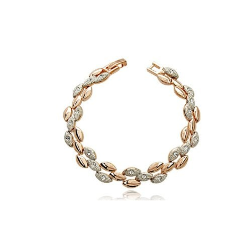 Silver Shoppee Gold And Silver Wheat Alloy Swarovski Crystal Bangle Set
