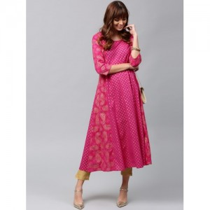 AKS Pink & Gold-Toned Printed Anarkali Kurta