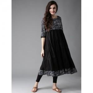 Moda Rapido Black & Blue Printed Anarkali Kurta