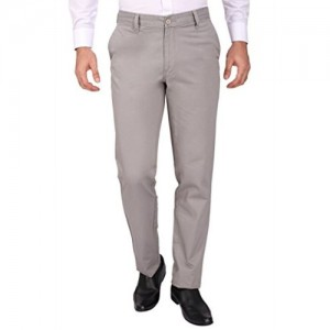 Modo Grey Regular Fit, 100% Cotton Formal Trousers