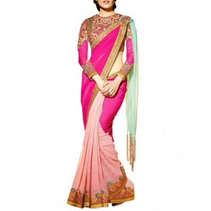 anvi creations Pink Faux Georgette Embroidered saree
