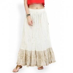 Varanga Off-White Flared Maxi Skirt with Crinkled Effect