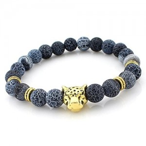 Young & Forever D'vine Collection Blue Weathered Agate Gold Leopard Fengshui Goodluck Bracelet For Men / Womens / Boys / Girls B762 diwali Gift special