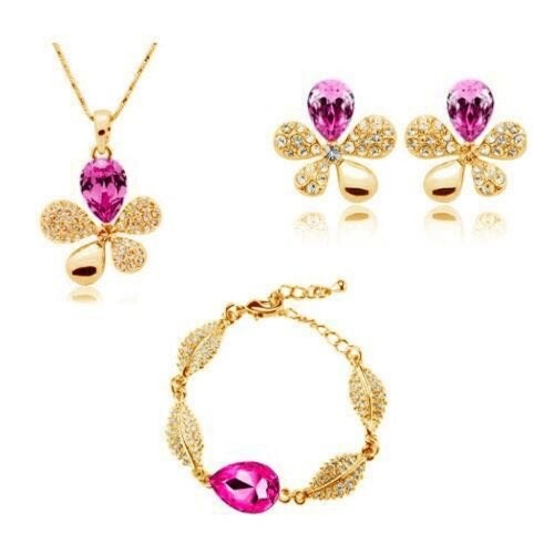 YouBella Presents L'amore Collection Floral Shaped Crystal Jewellery Combo of Pendant Set / Necklace Set with Earrings and Bracelet for Girls and Women