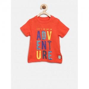 mothercare Boys Orange Printed Round Neck T-shirt