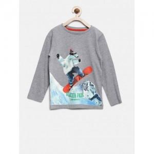 mothercare Boys Grey Melange Printed Round Neck T-shirt