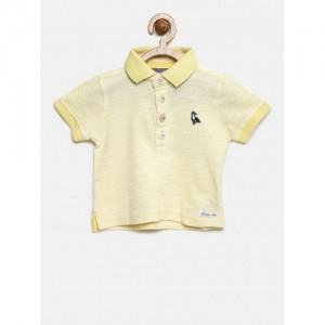 mothercare Boys Yellow Solid Polo T-shirt