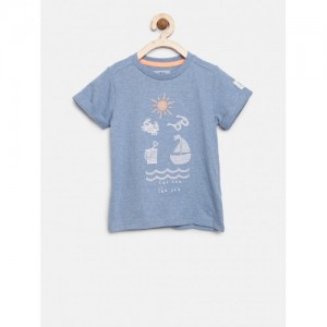 mothercare Boys Blue Embroidered Round Neck T-shirt