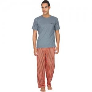 Nuteez Men's Printed Grey Top & Pyjama Set