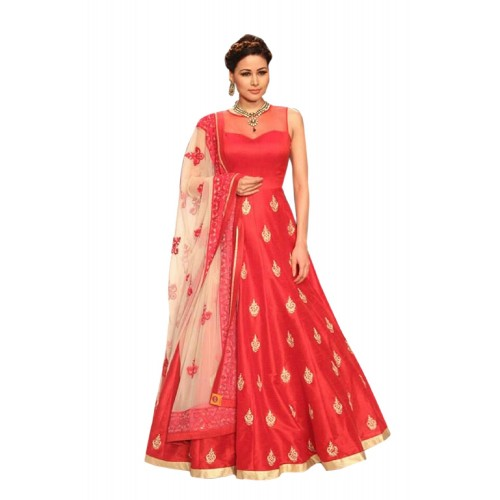 18551436d8 ... Dubai Creation Women's gown Latest Party Wear Red Banglori silk  Embroidery Free Size Salwar ...