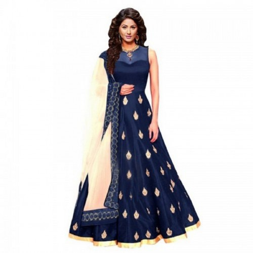 4b2eeee9cc ... Dubai Creation Women's gown Latest Party Wear Blue Banglori silk  Embroidery Free Size Salwar ...
