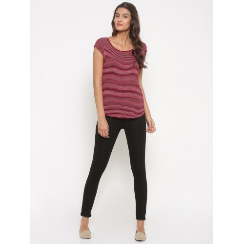 7600406e14b889 ... Fame Forever by Lifestyle Women Red & White Striped T-shirt ...