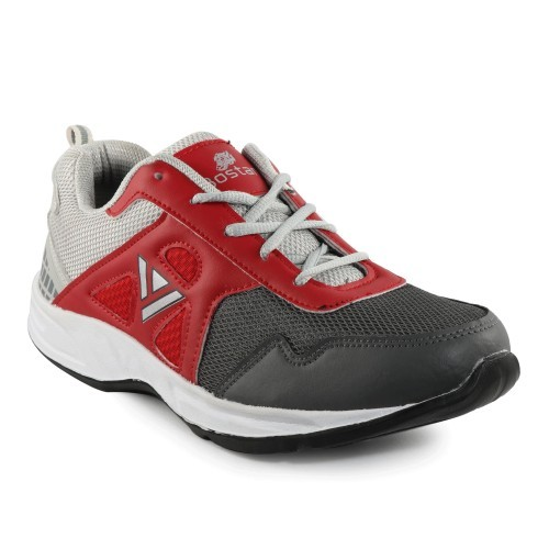 Bostan Grey & Red Sports Shoes for Men
