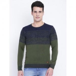 Monte Carlo Men Navy & Green Self-Design Sweater