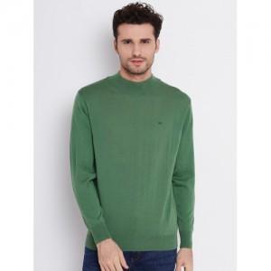 Monte Carlo Men Green Solid Woollen Sweater