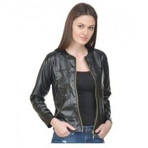 Rosella Biker Black Faux Leather Jacket