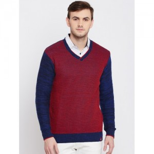 Monte Carlo Maroon & Blue Cotton Patterned Sweater