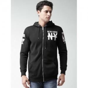 ALCOTT Black Printed Hooded Sweatshirt