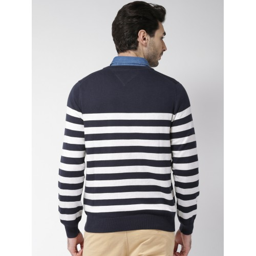 Buy Tommy Hilfiger Men Navy Blue White Striped Sweater Online