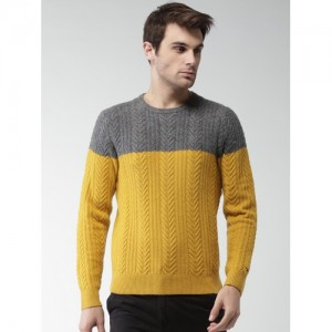 Tommy Hilfiger Men Charcoal & Mustard Yellow Self Design Pullover