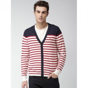Tommy Hilfiger Men Off-White & Red Striped Cardigan