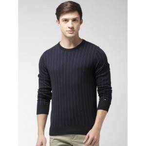 Tommy Hilfiger Men Black & Blue Striped Pullover