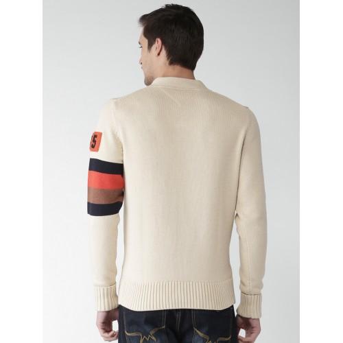 Tommy Hilfiger Men Cream-Coloured Self Design Pullover