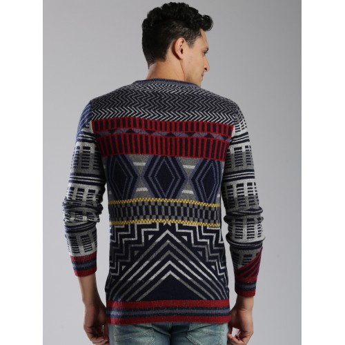 Tommy Hilfiger Multicoloured Wool Self-Design Sweater