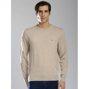 Tommy Hilfiger Men Beige Woollen Sweater