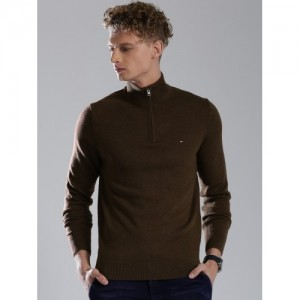 Tommy Hilfiger Men Brown Solid Sweater