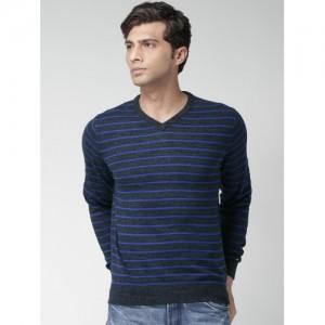 Tommy Hilfiger Navy Striped Cashmere Sweater